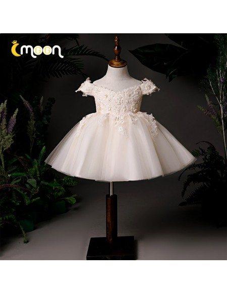 Light Champagne Short Tulle Tutus Flower Girl Dress Off Shoulder With Appliques