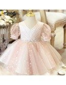 Pink Little Princes Pleated Tulle Tutus Party Dress With Sleeves