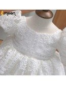 Unique Lace Pattern Baby Pageant Gown With Bubble Sleeves