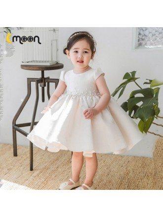 Elegant Ruffled Ballgown Satin Flower Girl Dress With Beaded Waist