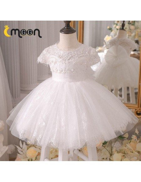 Pearls Sequined Lace Ballgown Tulle Flower Girl Dress Tutus With Cap Sleeves