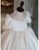 Couture Pleated Satin Ballgown Flower Girl Dress With Short Sleeves