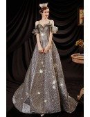 Fantasy Silver Bling Long Prom Dress with Ruffled Neckline Straps
