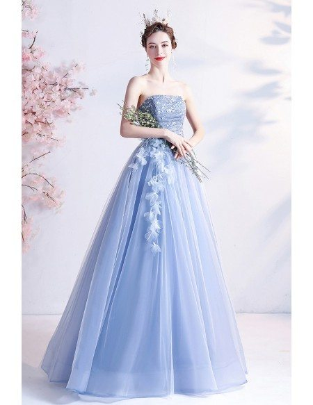 Strapless Blue Tulle Long Party Prom Dress with Petals