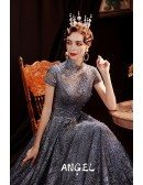 Retro High Collar Bling Sequins Formal Party Dress with Cap Sleeves