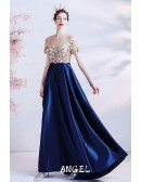 Blue Satin Empire Long Prom Dress with Illusion Neckline Sleeves