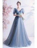 Sequined Blue Bling Tulle Vneck Prom Dress with Short Sleeves
