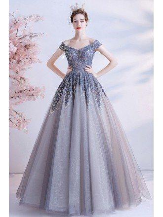 Off Shoulder Bling Sequins Ballgown Prom Dress For Formal