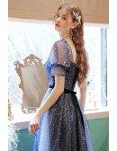 Fantasy Blue Stars Bling Tulle Prom Dress with Short Sleeves