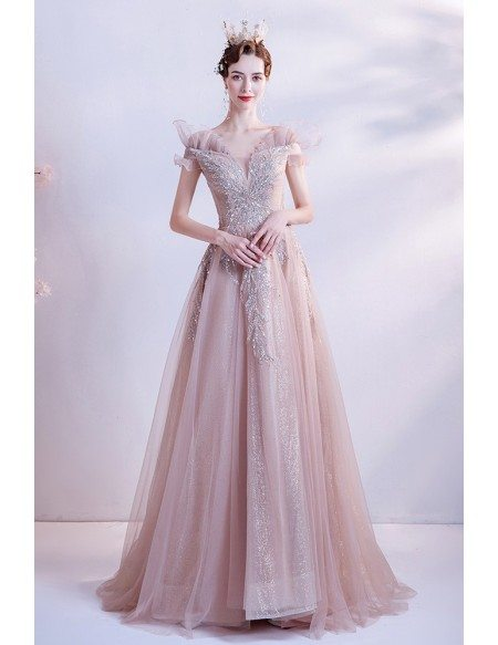 Beautiful Pink Tulle Sequined Pattern Long Prom Dress
