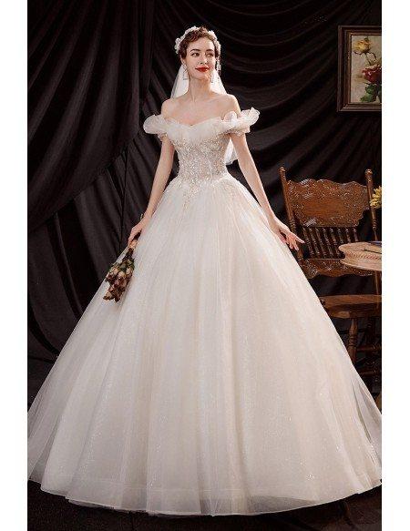 Elegant Off Shoulder Ballgown Wedding Dress with Beaded Flowers
