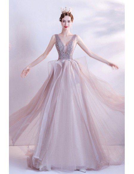 Stunning Ruffled Tulle Sequined Vneck Prom Dress Sleeveless