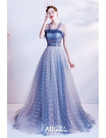 Unique Blue Grid Pattern Flowing Long Tulle Prom Dress