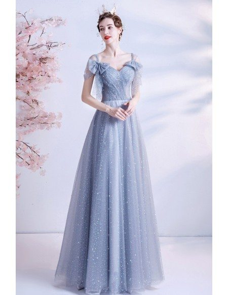 Dreamy Dusty Blue Tulle Prom Dress with Bling Bow Knot Straps