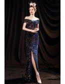 Colorful Bling Sequins Off Shoulder Party Dress with Split Front