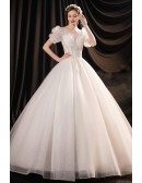 Princess Big Ballgown Wedding Dress with Bling Embroidered Bubble Sleeves