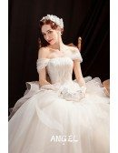 Sequined Ruffle Big Ballgown Wedding Dress with Straps