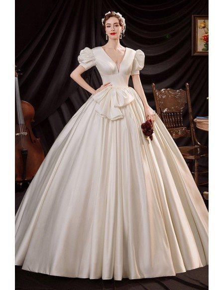 Retro Romantic Big Ballgown Satin Wedding Dress Vneck with Bubble Sleeves