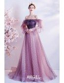 Beautiful Purple Tulle Off Shoulder Prom Dress with Long Sleeves