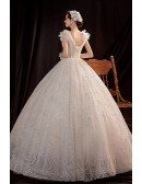 Gorgeous Big Ballgown Sequined Wedding Dress Vneck with Bling