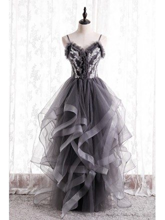 Grey Ruffled Unique Prom Dress with Appliques Straps