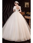 Romantic Light Champagne Ballgown Tulle Prom Dress with Bow Knot Sleeves