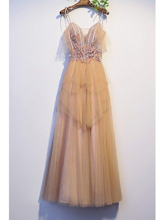 Beautiful Champagne Tulle Long Prom Dress with Strappy Straps