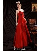 Simple Red Satin Party Dress with Beaded Sweetheart