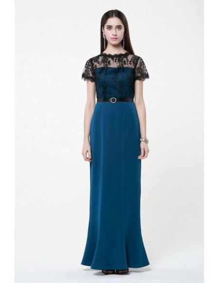 Elegant Sheath Cotton Lace Long Mother of the Bride Dress With Cape Sleeves