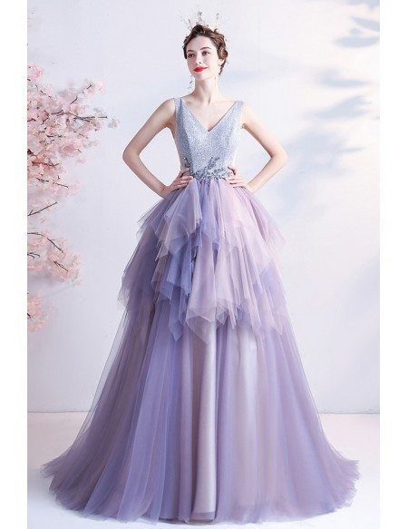 Stunning Purple Ruffles Vneck Prom Dress with Bling Top