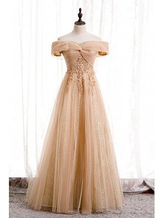 Champagne Tulle Off Shoulder Long Prom Dress with Appliques Bling Sequins