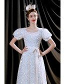 Bling Bling Sequins Cute Bubble Sleeved Long Birthday Party Dress