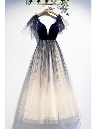 Navy Blue Velvet with Tulle Aline Prom Dress Vneck with Bling