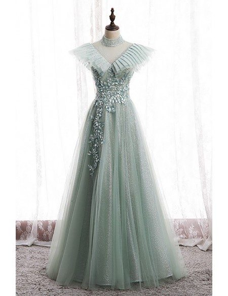 Green Bling Mesh Tulle Long Prom Dress with Beadings High Neck