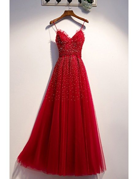 Burgundy Aline Long Tulle Prom Dress with Sequins Beadings