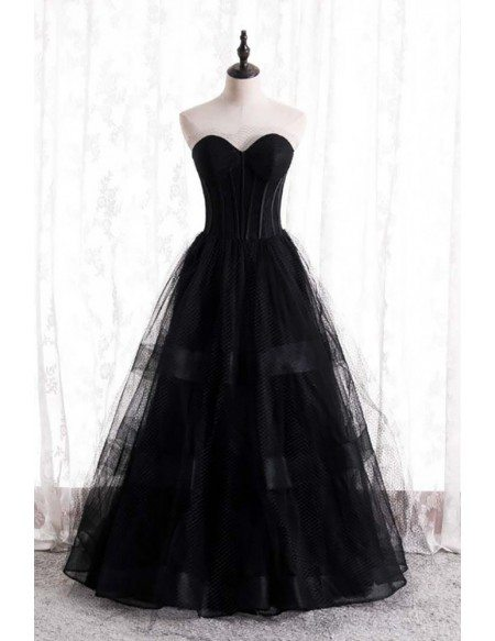 Gothic Black Strapless Corset Prom Dress with Mesh Tulle Ballgown