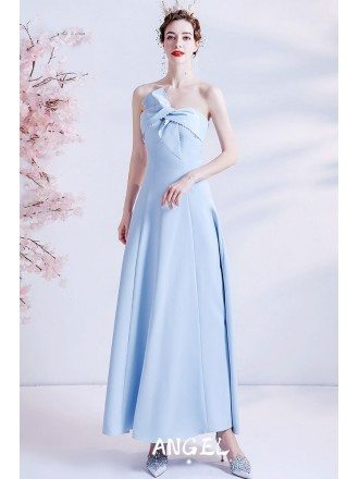 Simple Blue Ankle Length Party Dress with Cross Neckline