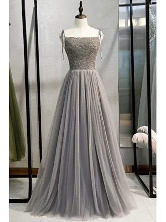 Elegant Grey Tulle Aline Prom Dress with Sequined Bodice Straps