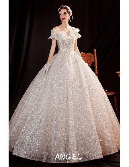 Sparkly Fairytale Ballgown Princess Wedding Dress with Ruffled Neckline