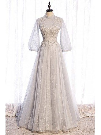 Elegant Grey Long Sequined Prom Dress with Lantern Long Sleeves