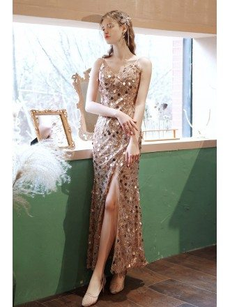 Cute Round Sequins Gold Party Dress Vneck with Split
