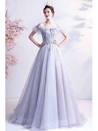 Gorgeous Grey with Sequins Tulle Formal Prom Dress with Ruffles