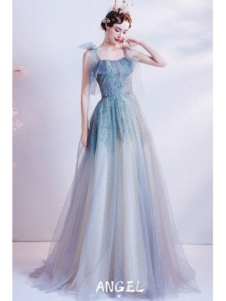 Ombre Bling Tulle Unique Prom Dress with Strappy Straps