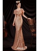 Sparkly Gold Sequins Formal Mermaid Evening Dress with Sleeves