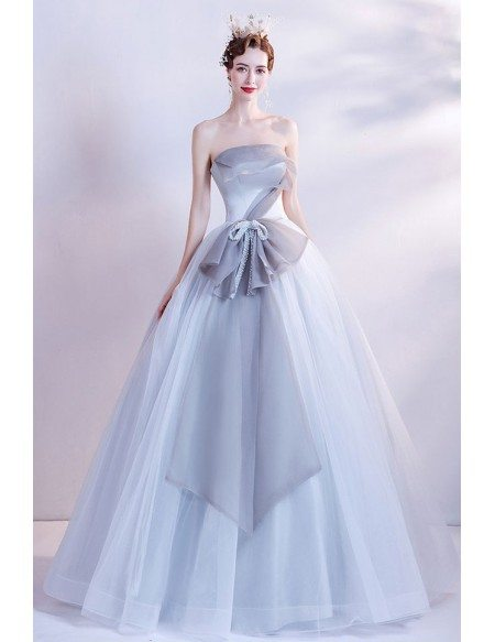 Grey Ballgown Formal Prom Dress with Big Bow In The Front