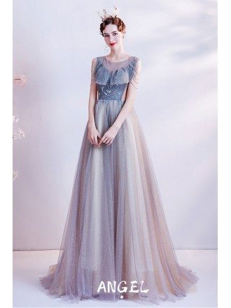Dusty Tulle Sheer Neckline Aline Prom Dress with Bling