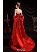 Sweetheart High Low Red Satin Formal Dress with Big Bow In Back