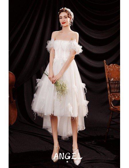 Romantic Polka Dot Cute High Low Short Tulle Wedding Party Dress