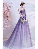 Fantasy Shinny Purple Tulle Flowy Long Prom Dress Strapless