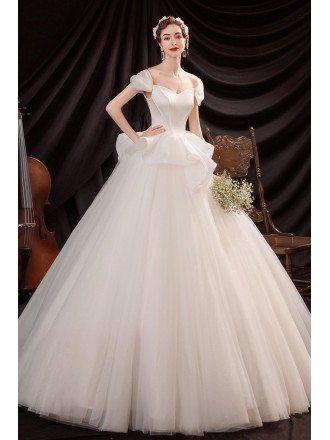 Princess Big Ballgown Wedding Dress Off Shoulder with Ruffles